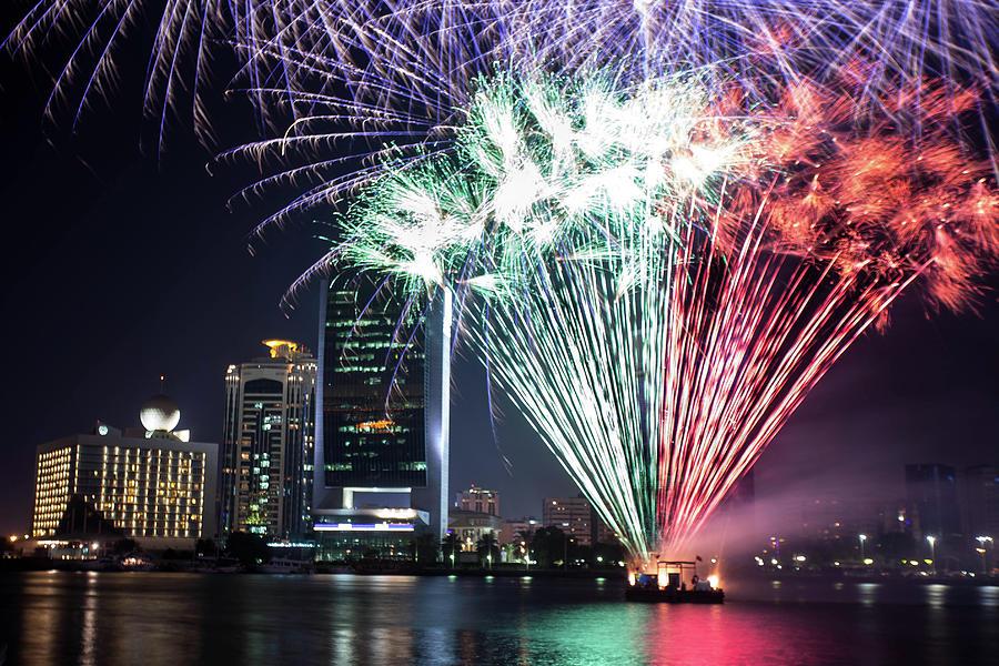 Dubai Creek Fireworks Photograph by Shahin Olakara Photography