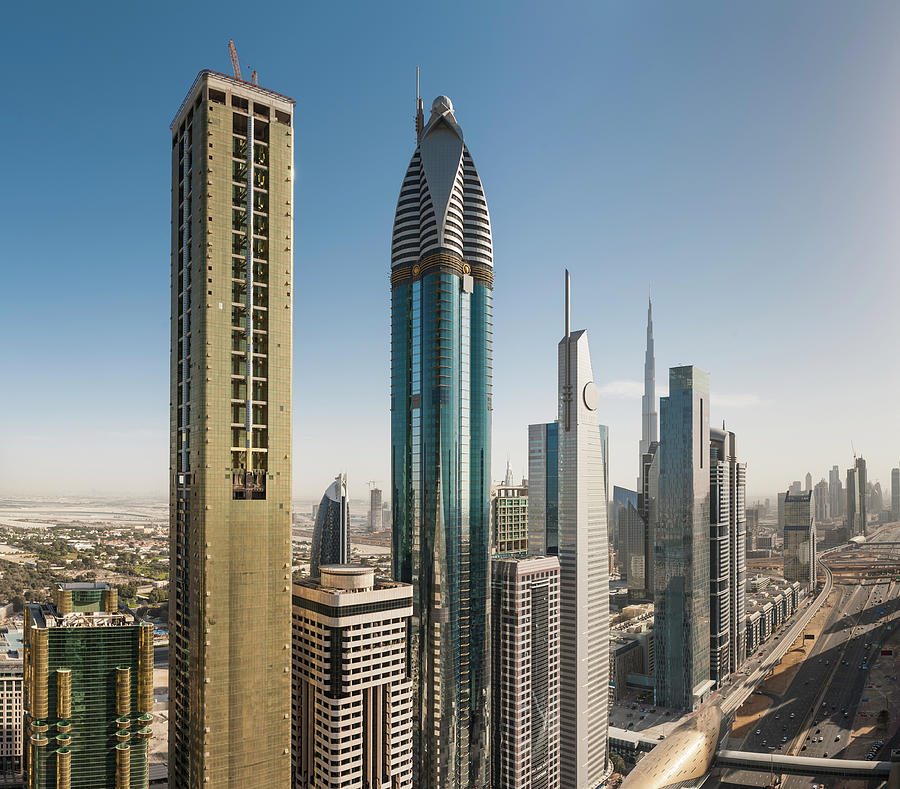 Dubai Futuristic Skyscrapers Of Sheikh Photograph by Fotovoyager