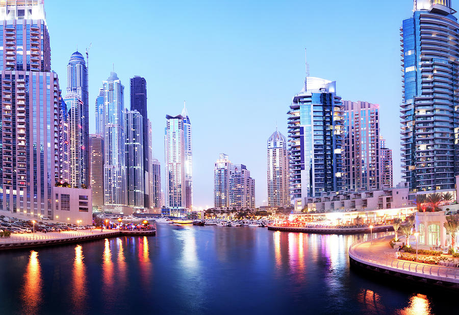 Dubai Marina Skyline At Night In The Photograph by Deejpilot