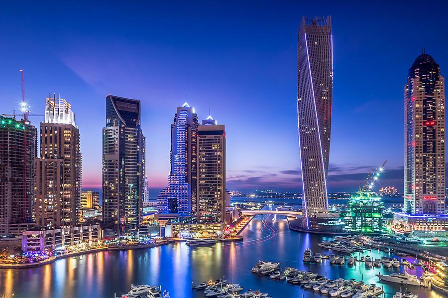 Night Photograph - Dubai Marina by Vinaya Mohan