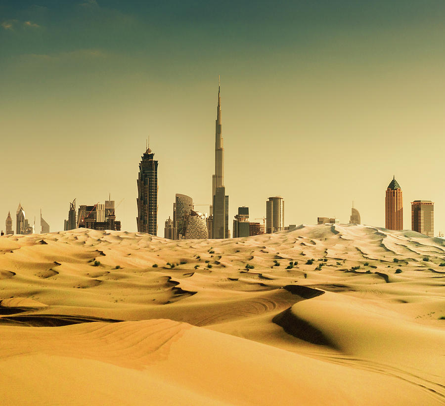 Dubai Skyline From The Desert Photograph by Franckreporter