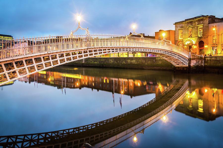 Dublin Hapenny Bridge, Ireland Photograph by Mlenny