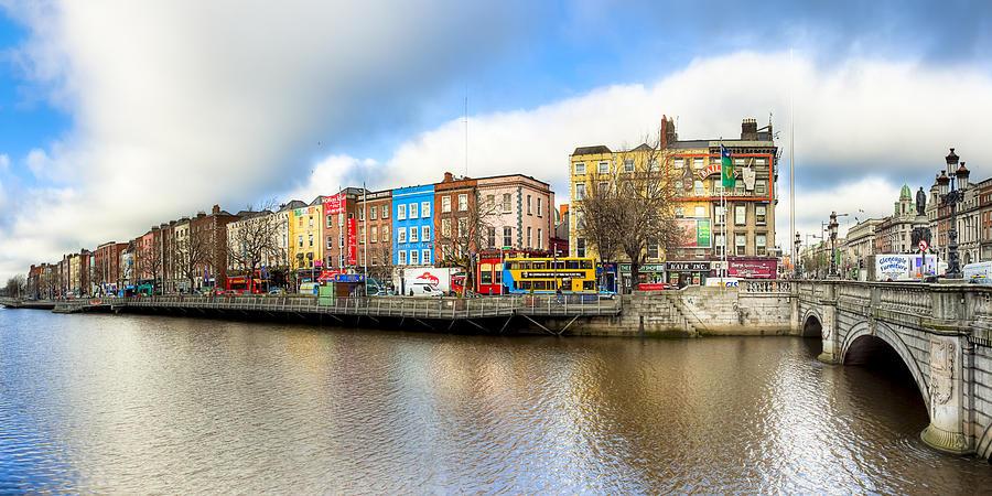 Dublin Photograph - Dublin River Liffey Panorama by Mark E Tisdale