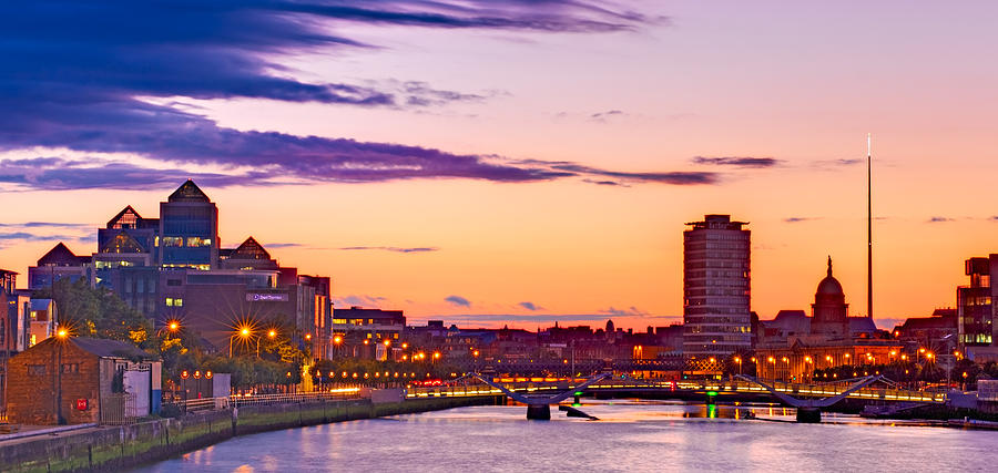 Dublin Skyline At Dusk Dublin Photograph By Barry O Carroll