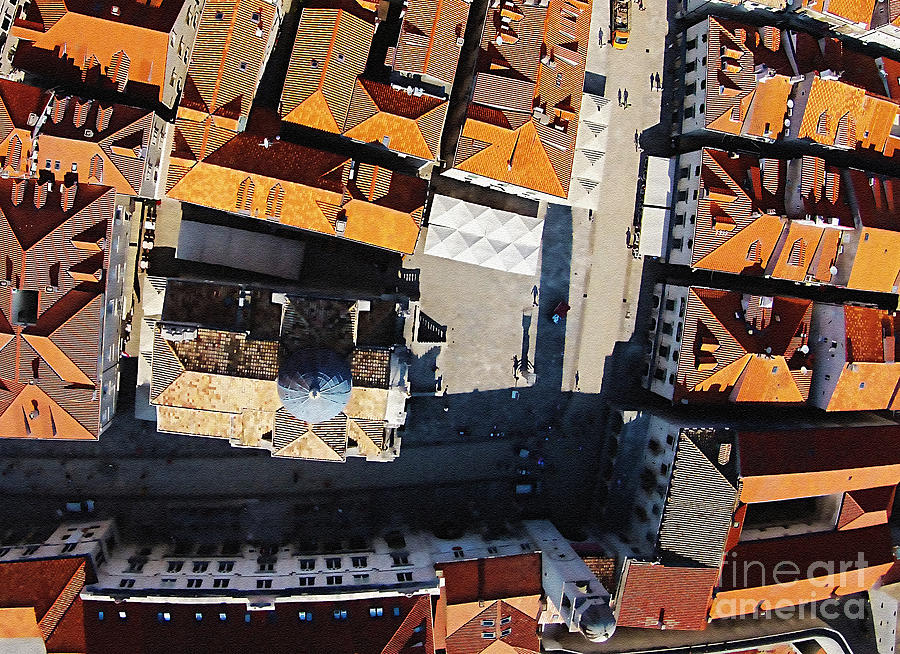 Dubrovnik Mixed Media - Dubrovnik Aerial Amazing by Aston Pershing
