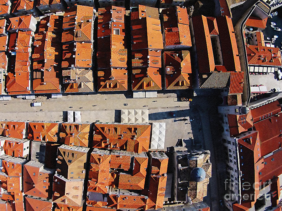 Dubrovnik Mixed Media - Dubrovnik Aerial Stradun by Aston Pershing