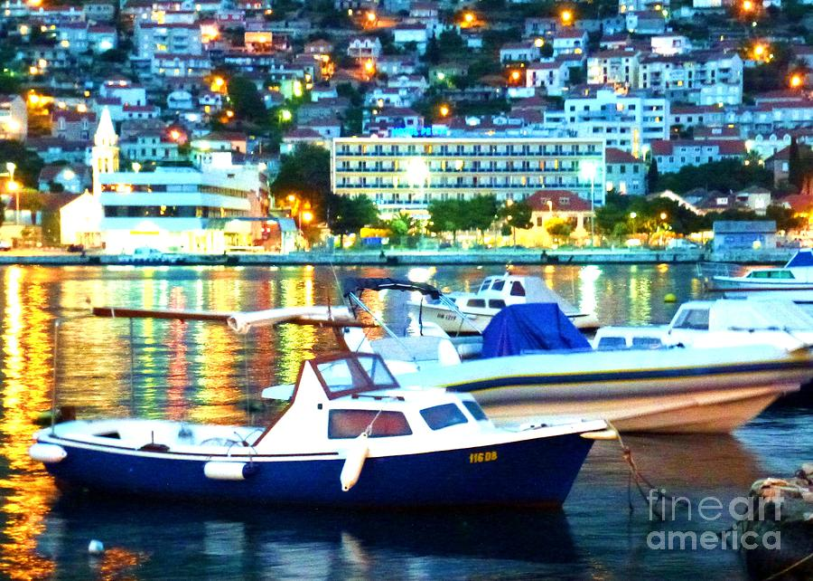 Dubrovnik Harbor At Night Photograph