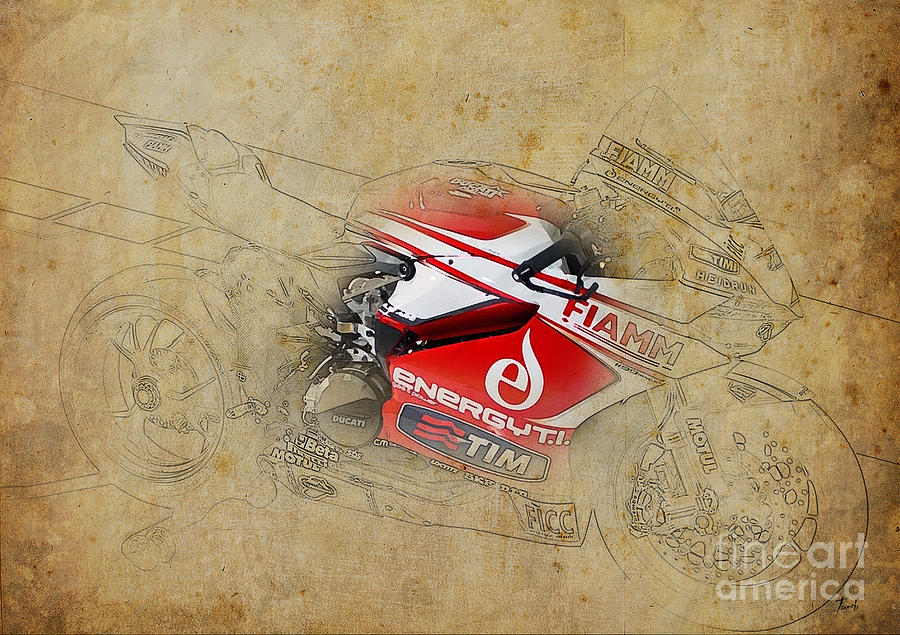 Red Digital Art - Ducati 1199 Panigale R Wsbk 2013 by Drawspots Illustrations
