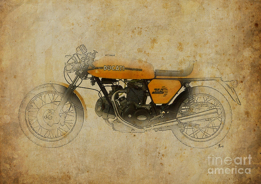 Ducati Digital Art - Ducati 750 Sport 1973 by Pablo Franchi