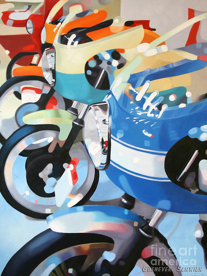 Motorcycles Painting - Ducati Line by Guenevere Schwien