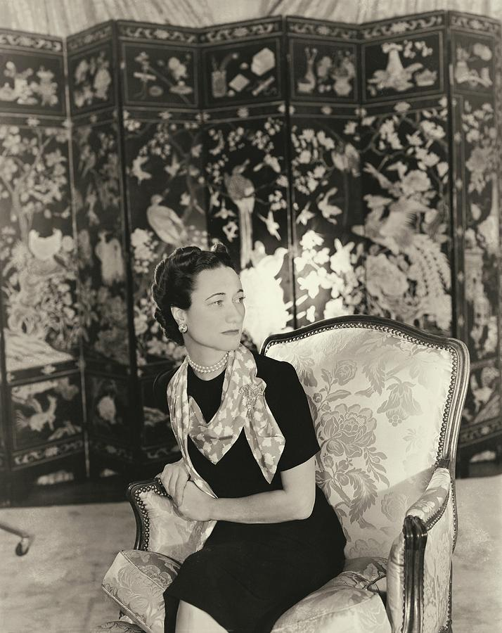 Indoors Photograph - Duchess Of Windsor In Short-sleeved Dress by Horst P. Horst