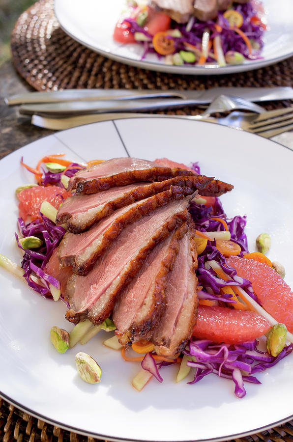 Duck Breast With Red Cabbage Salad Photograph by Katya Lyukum