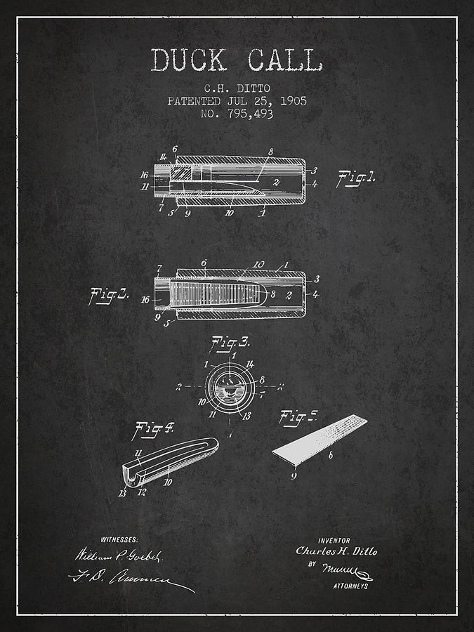 Duck Call Instrument Patent From 1905 - Charcoal Digital Art
