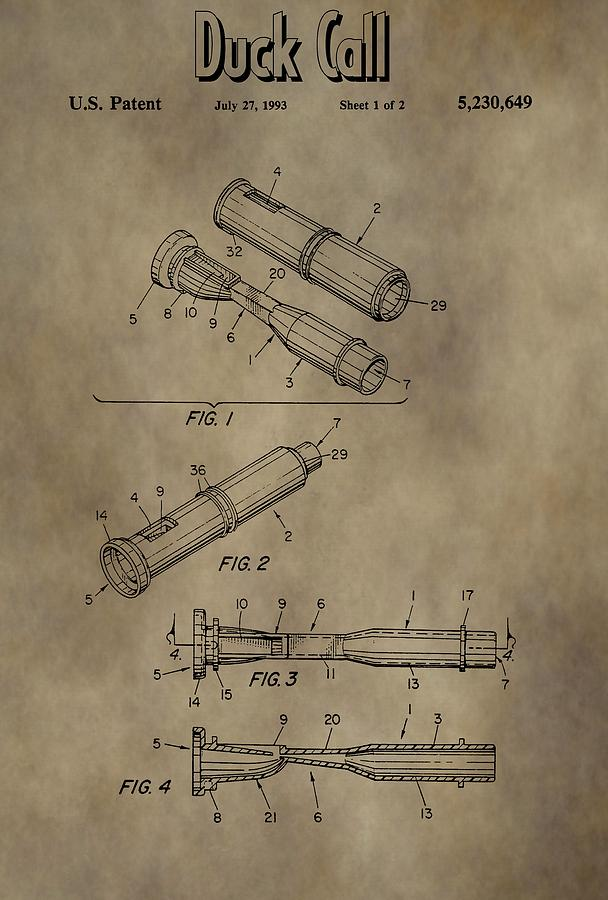 Duck Dynasty Duck Call Patent Mixed Media By Dan Sproul