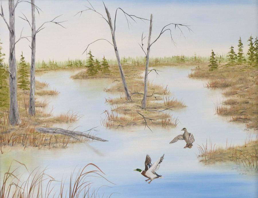 Ducks Painting - Duck Marsh by Janet Hufnagle