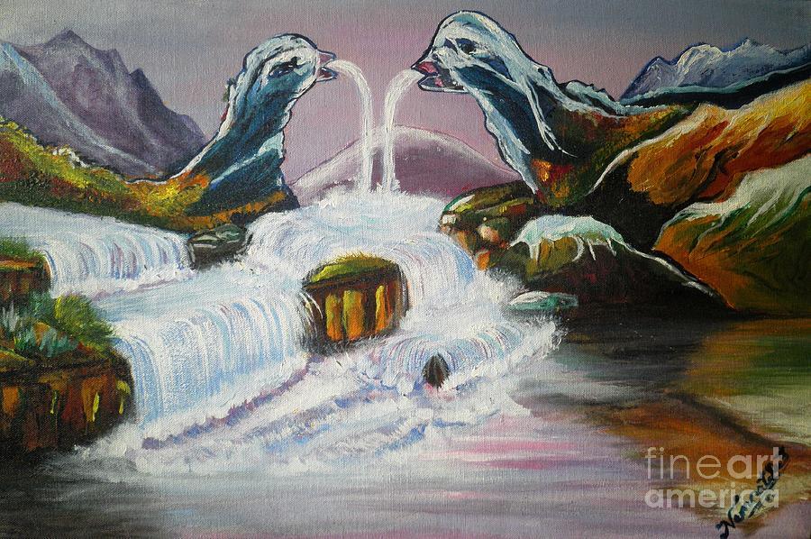 Duck Mountain Waterfall Painting