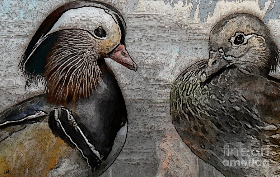 Ducks Painting - Ducks - Mandarin Ducks  by Liane Wright