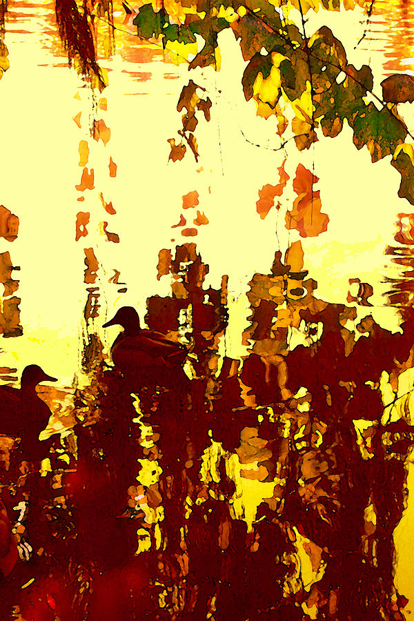 Landscape Painting - Ducks On Red Lake 2 by Amy Vangsgard