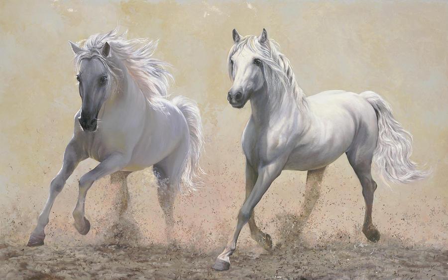 Horses Painting - Due Cavalli by Danka Weitzen