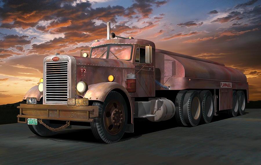 Truck Digital Art - Duel Truck with trailer by Stuart Swartz