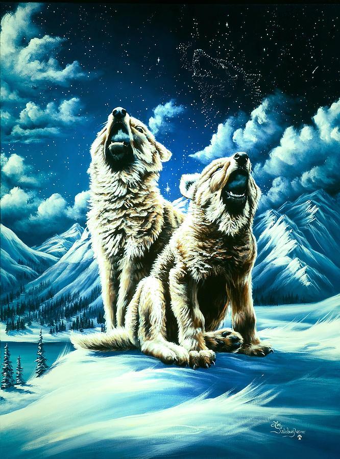 Wolf Painting - Duet by Lori Salisbury