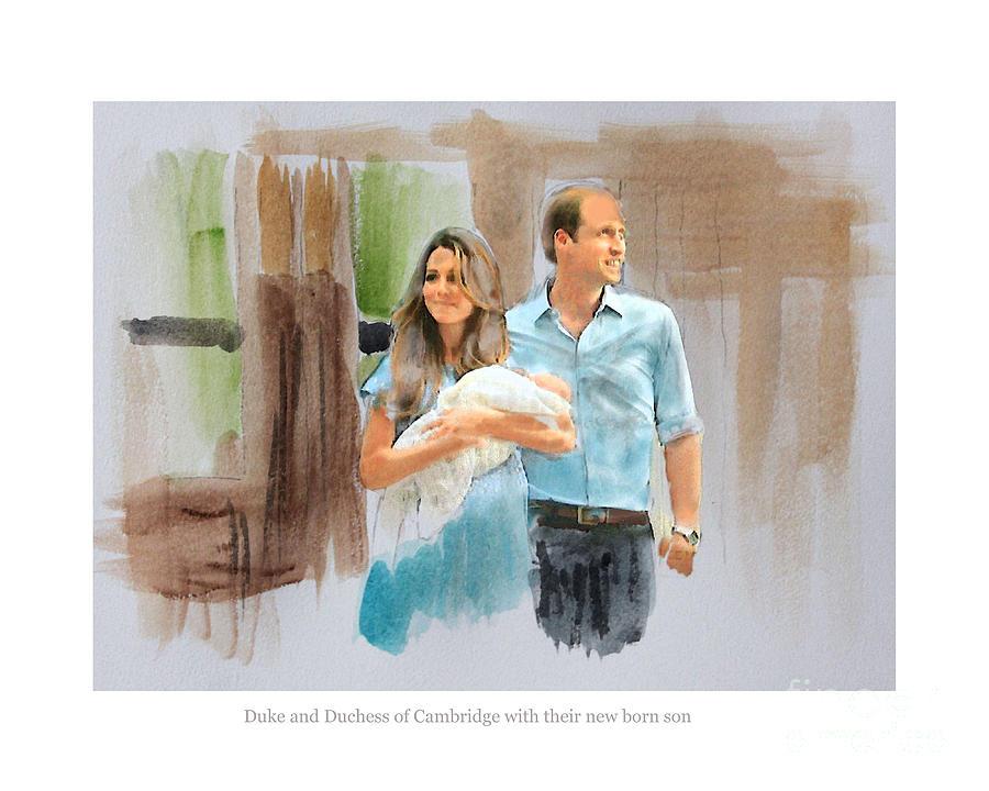 Duke And Duchess Of Cambridge Mixed Media - Duke And Duchess Of Cambridge With Their New Son by Roger Lighterness