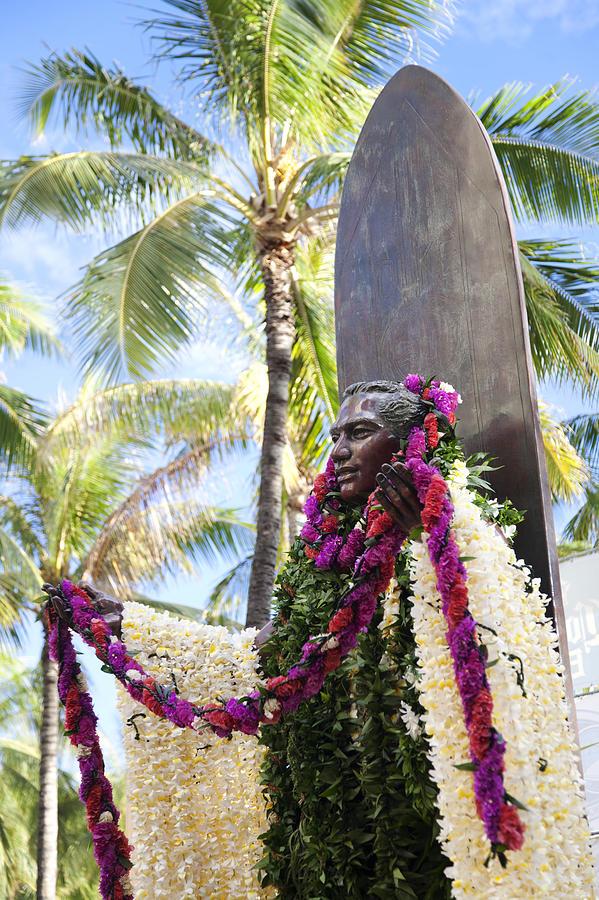 Aloha Photograph - Duke Kahanamoku Covered In Leis by Brandon Tabiolo