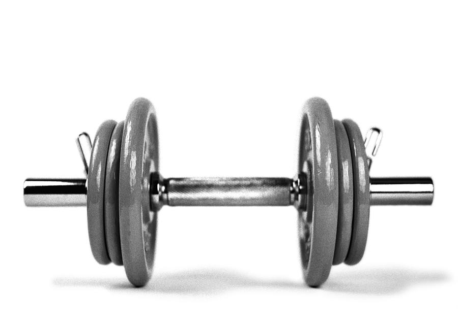 Dumbbell And Weights, B&w. Photograph by Michele Constantini