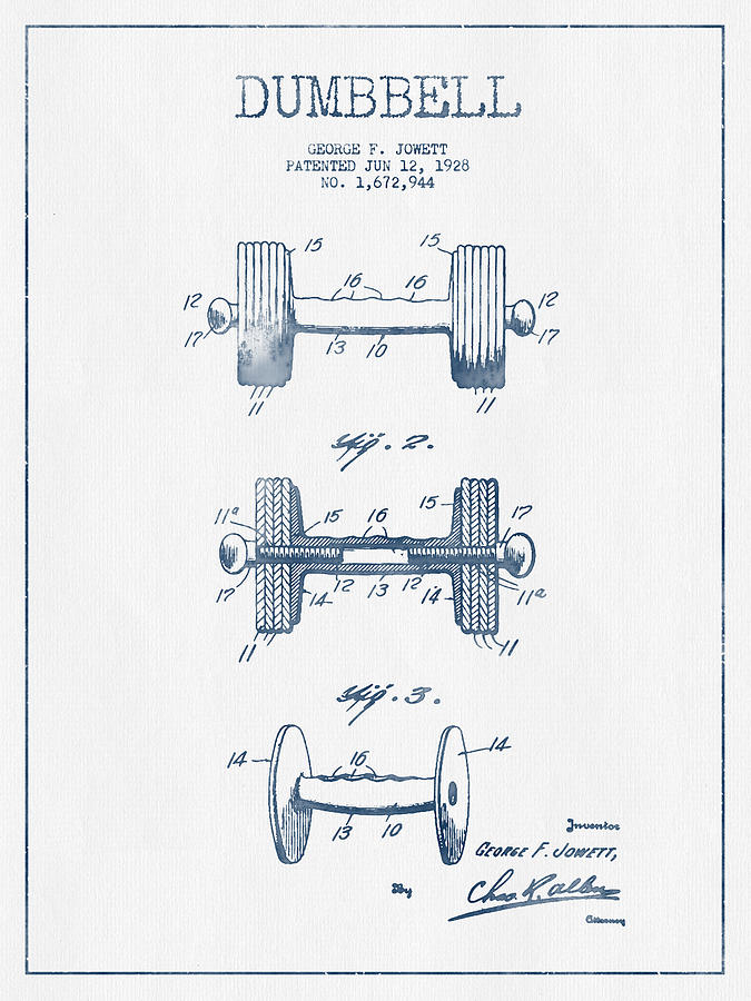 Dumbbell Drawing - Dumbbell Patent Drawing From 1935  -  Blue Ink by Aged Pixel