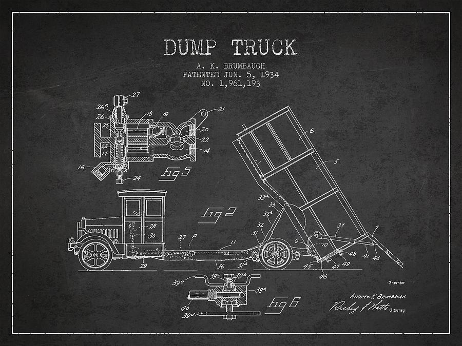 Dump Truck Digital Art - Dump Truck Patent Drawing From 1934 by Aged Pixel