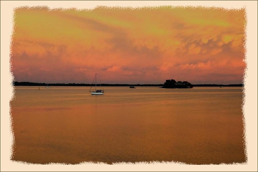 Sunset Photograph - Dunedin Sunset Boat by Wynn Davis-Shanks
