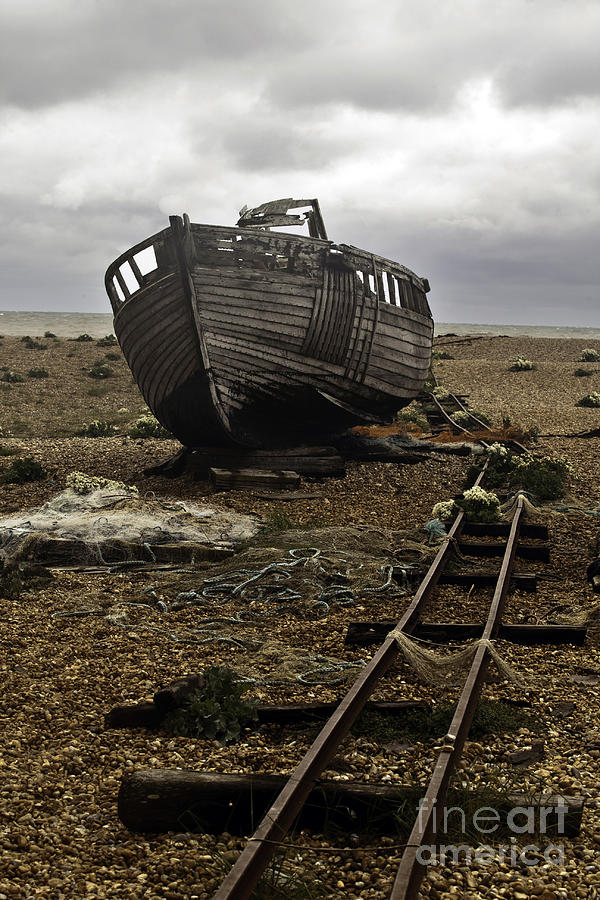 Dungeness; Photography; Image; Art; Rust; Decay; Seascape;railway; Nature; Natural Beauty; Fishing; Boat; Beach Photograph - Dungeness by Lesley Rigg