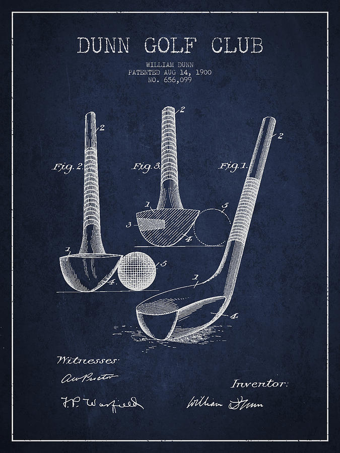 Golf Digital Art - Dunn Golf Club Patent Drawing from 1900 - Navy Blue by Aged Pixel