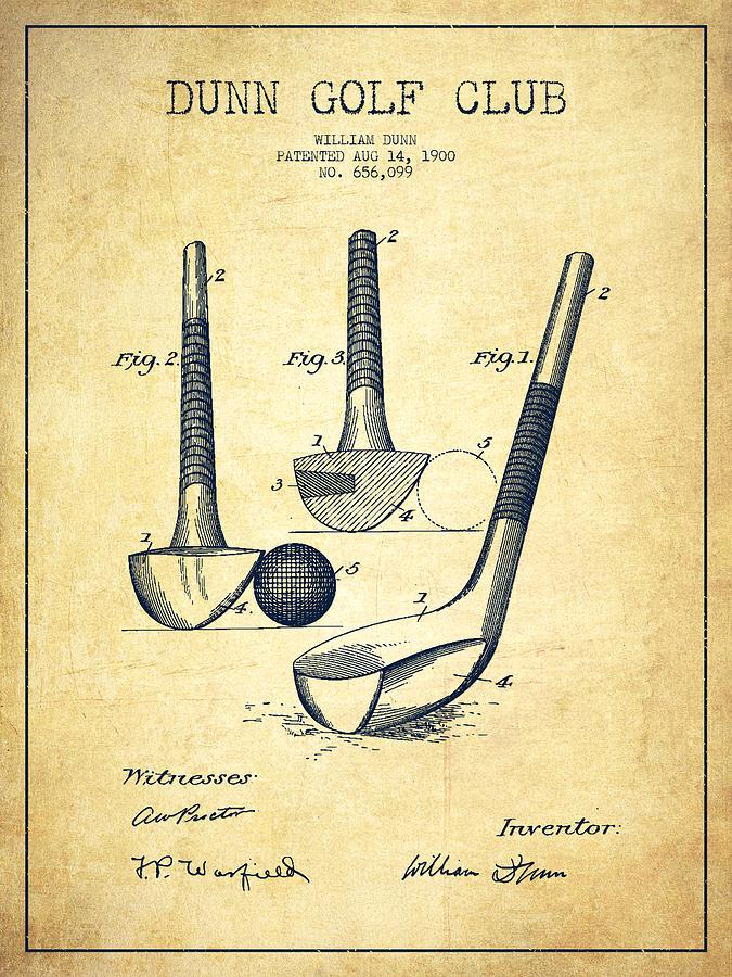 Dunn Golf Club Patent Drawing From 1900 - Vintage Digital Art