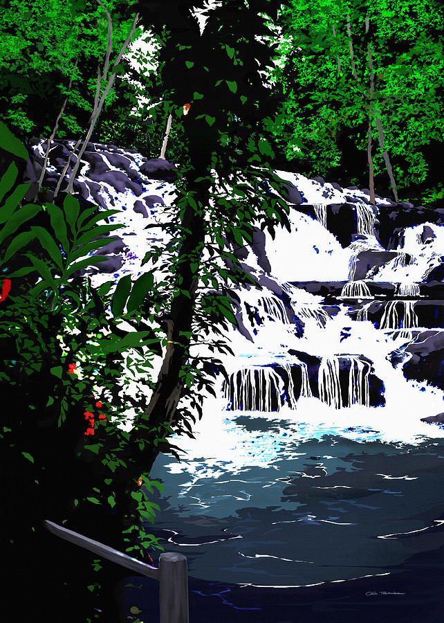 Jamaica Painting - Dunns River Falls Jamaica by Colin Tresadern