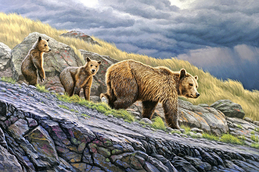 Wildlife Painting - Dunraven Pass Grizzly Family by Paul Krapf