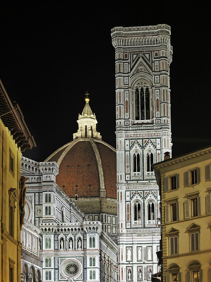 Duomo And Campanile Night View Photograph by Izzet Keribar
