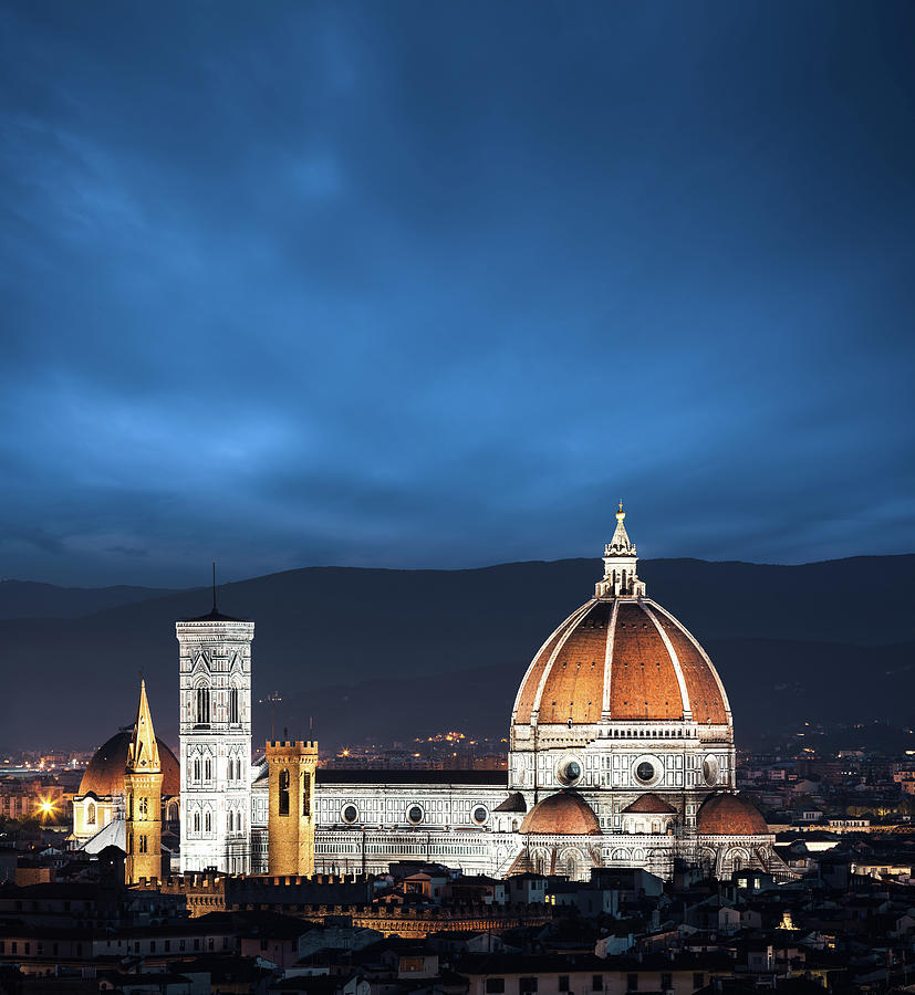 Duomo In Florence At Night Photograph by Borchee