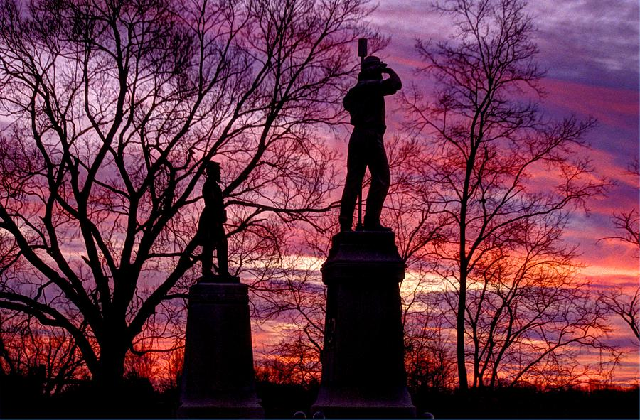 Civil War Photograph - Durells Independent Battery D And 48th Pa Volunteer Infantry-a1 Sunset Antietam by Michael Mazaika