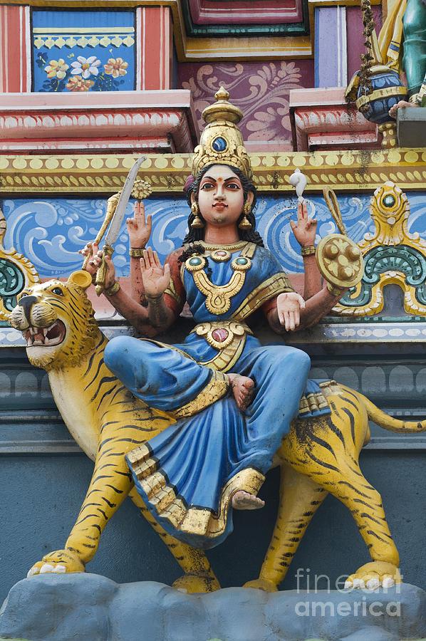Durga Photograph - Durga Statue On Hindu Gopuram by Tim Gainey