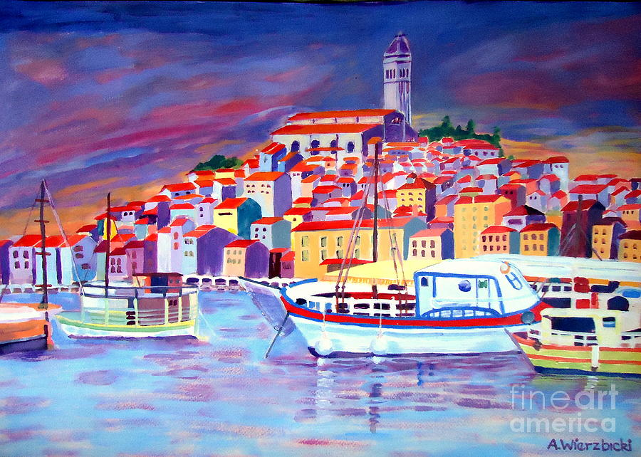 Ships Painting - Dusk by Alicia Wierzbicki