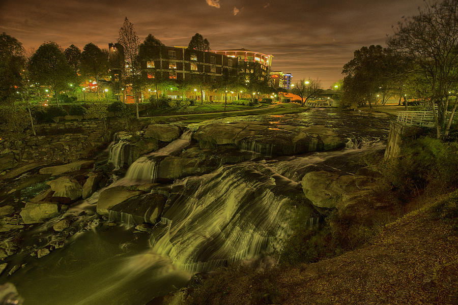 Sc Photograph - Dusk At Falls Park Greenville Sc by Joel Corley