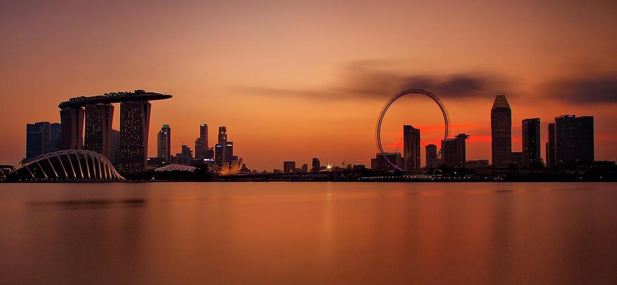 Dusk At Marina Bay Sands + Singapore Photograph by © Copyright Kengoh8888