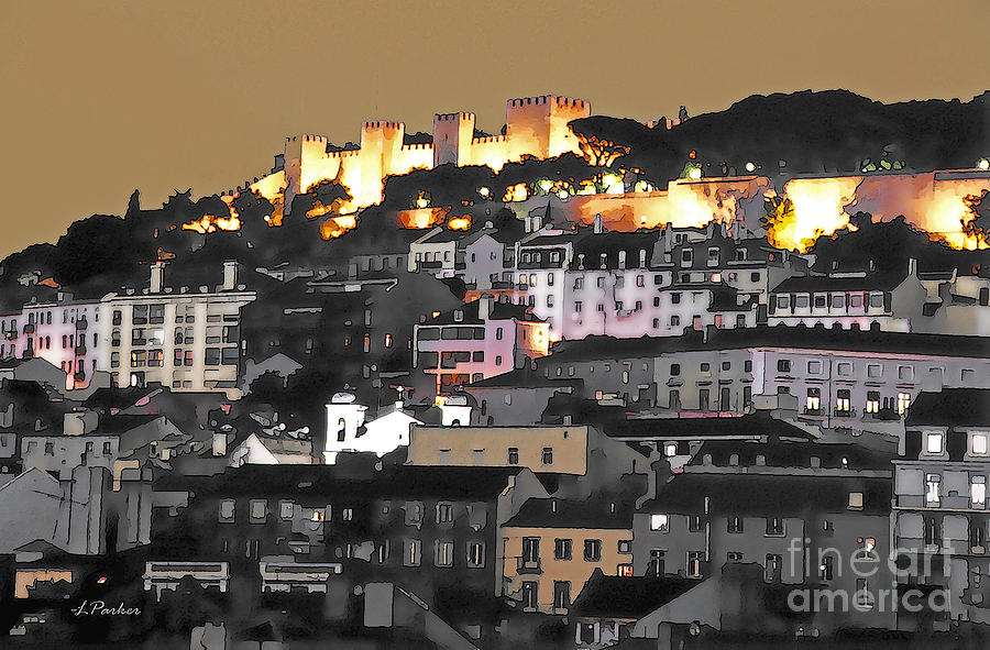 Abstract Photograph - Dusk Falls On St. George Castle Lisbon by Linda  Parker