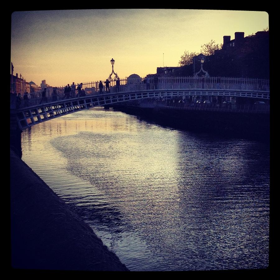 Horizontal Landscape Photograph - Dusk Haypenny Bridge Dublin by Maeve O Connell