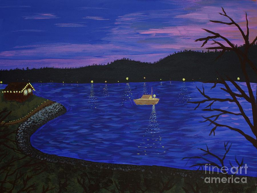 Seattle Painting - Dusk On Puget Sound by Vicki Maheu