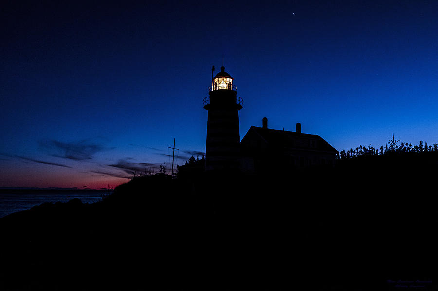 Dusk Photograph - Dusk Silhouette At West Quoddy Head Lighthouse by Marty Saccone