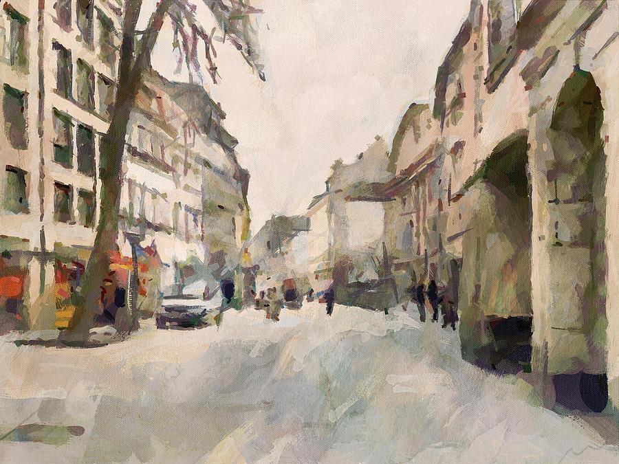 Dusseldorf Digital Art - Dusseldorf Old Town Street 1 by Yury Malkov