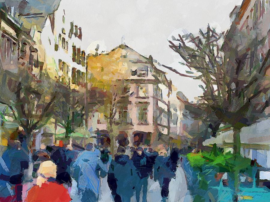 Dusseldorf Digital Art - Dusseldorf Old Town Street 4 by Yury Malkov