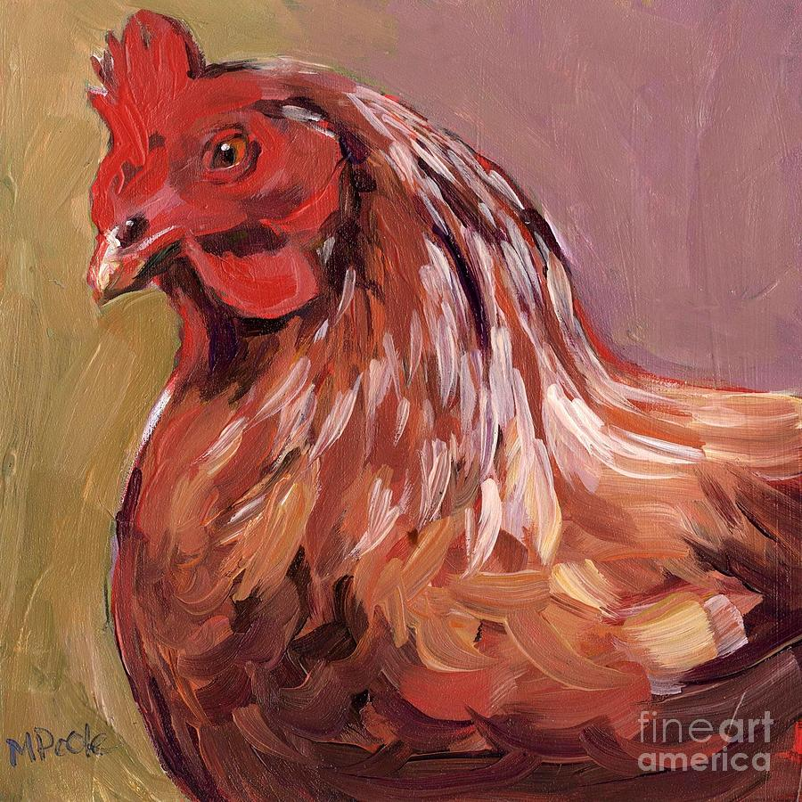 Chicken Painting - Dust Feathers by Molly Poole